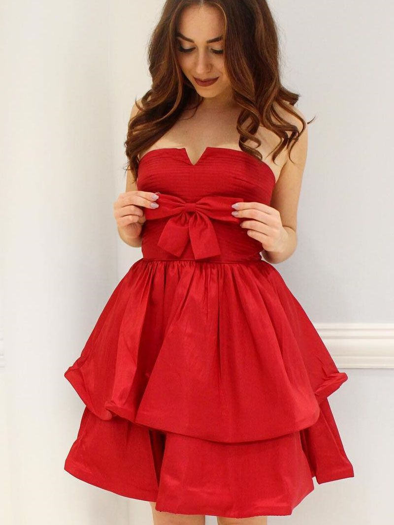 Cute strapless short red homecoming dress with bow dream dressy