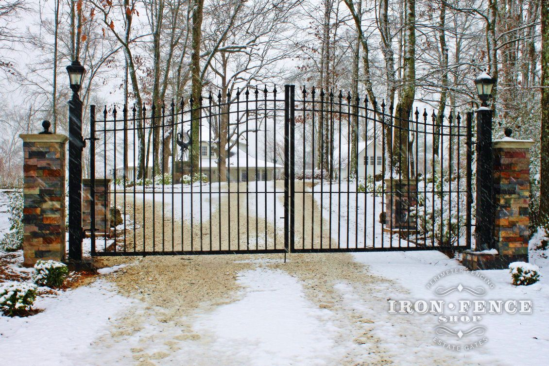A Stunning Winter Shot Of A 16ft Wide Wrought Iron Driveway Gate