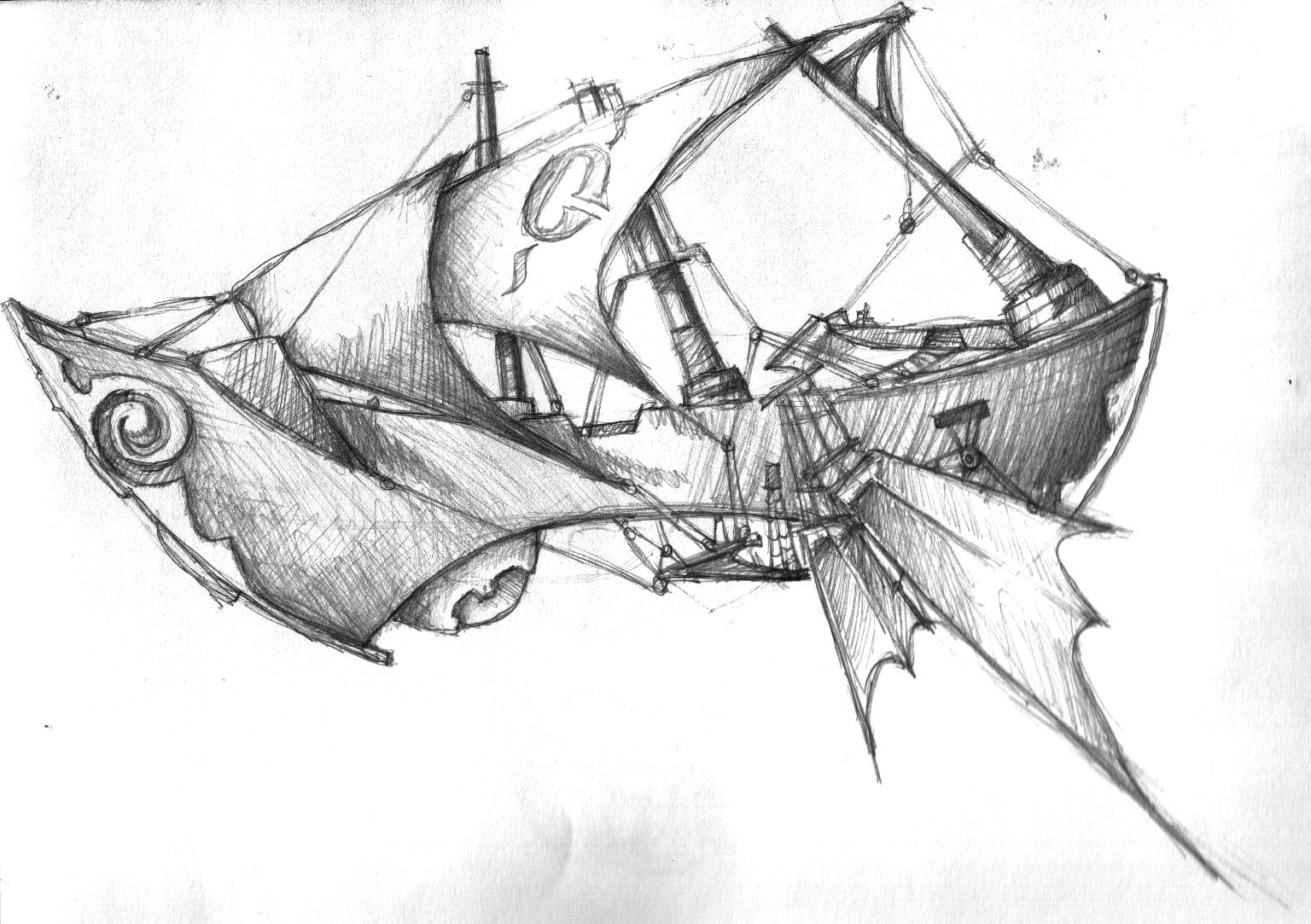 Airship By Grimsbloodmoon On Deviantart Fantasy Drawings