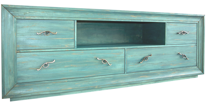 Mueble Tv Pintado A Mano En Color Verde Agua Y Turquesa Con Pan