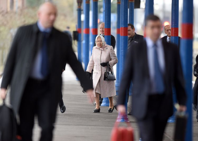 Her Majesty the Queen arrives at Kings Lynn Station in Norfolk for her Christmas break on the Sandringham estate