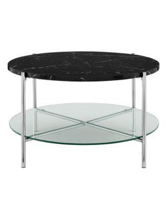 32 Inch Round Coffee Table In Black Faux Marble With Gl Shelf And Chrome Legs
