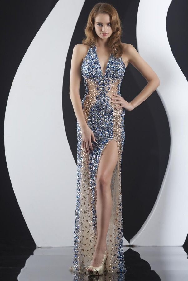 Jasz Couture Smashing Rhinestone Gown 4973 Blue Sheer Nude ...