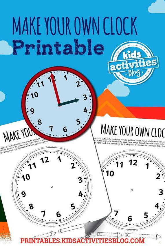 Make Your Own Clock Printable for Kids Learn to Tell Time | Math ...