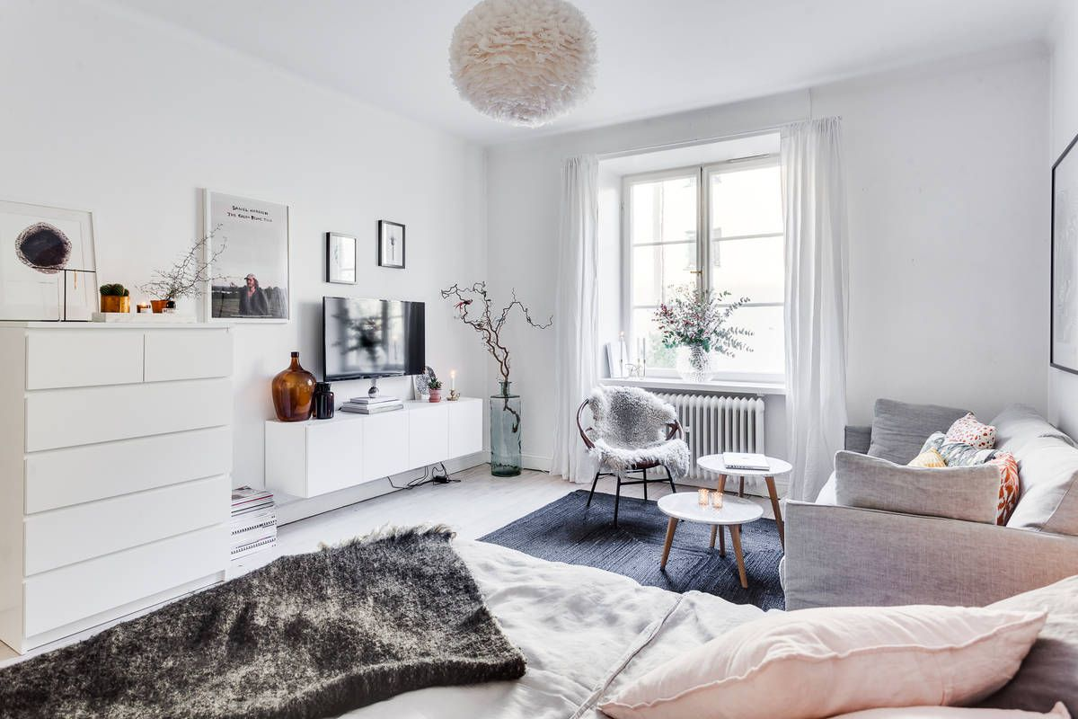 Studio apartment decoration design ideas with the advantages feminine studio apartment in stockholm alexander white sweden scandinavian interior