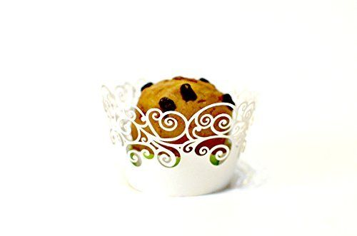 Buy Home 120pcs Filigree Laser Cut Paper Orchid Lace Cupcake Wrappers Liners Wedding Birthday Party Christmas Halloween Cake Decoration Wraps Wholesales Lot (White, Heart)