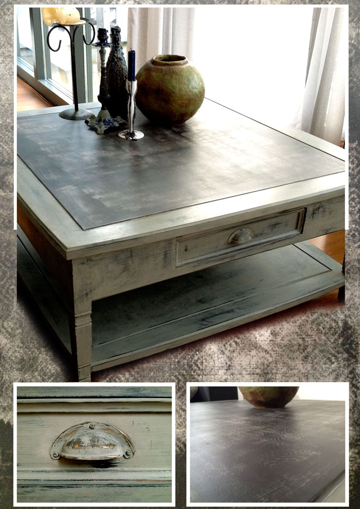 Coffee Table In Black Green Ish Grey And Taupe Chalk Painted