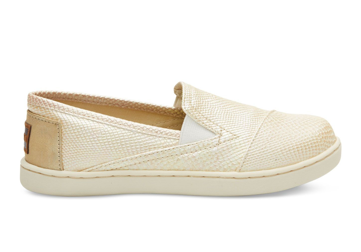 undefined Gold Metallic Synthetic Leather Youth Avalon Slip-Ons
