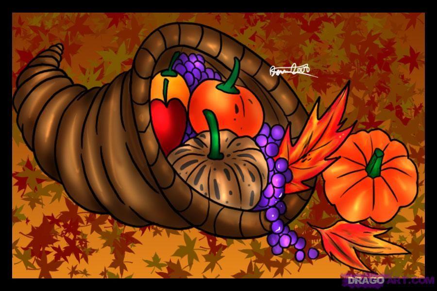 How To Draw A Cornucopia November Thanksgiving Art