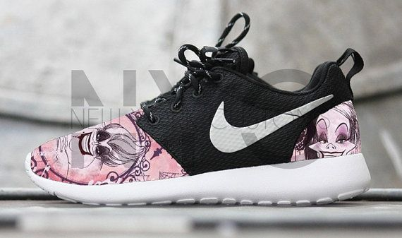 Nike Roshe Run Black White Disney Villains (Maleficent, Cruella, Ursula)  Edition Print Custom Men & Women