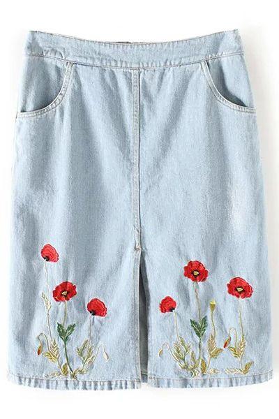 f543da9c52a Floral Embroidery Straight Denim Skirt Ropa