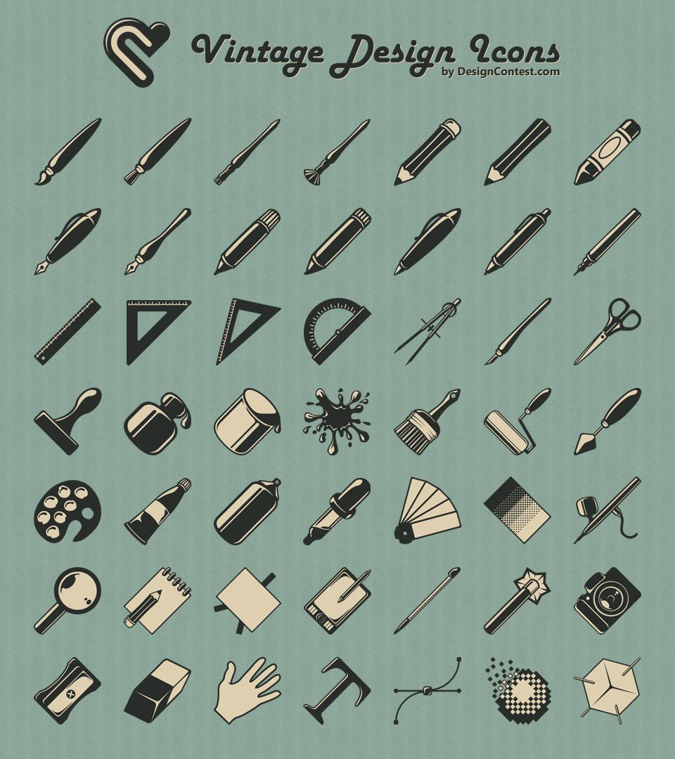 Free Vintage Design Icons Icons Fribly Web Design Freebies Design Freebie Vintage Icons