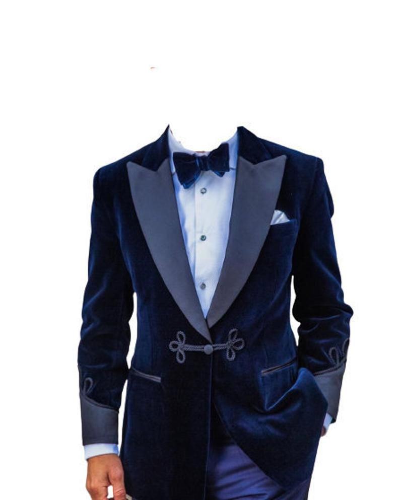 Mens Blue Velvet Smoking Jacket Vintage Style Party Host Wear Dinner Blazer Coat