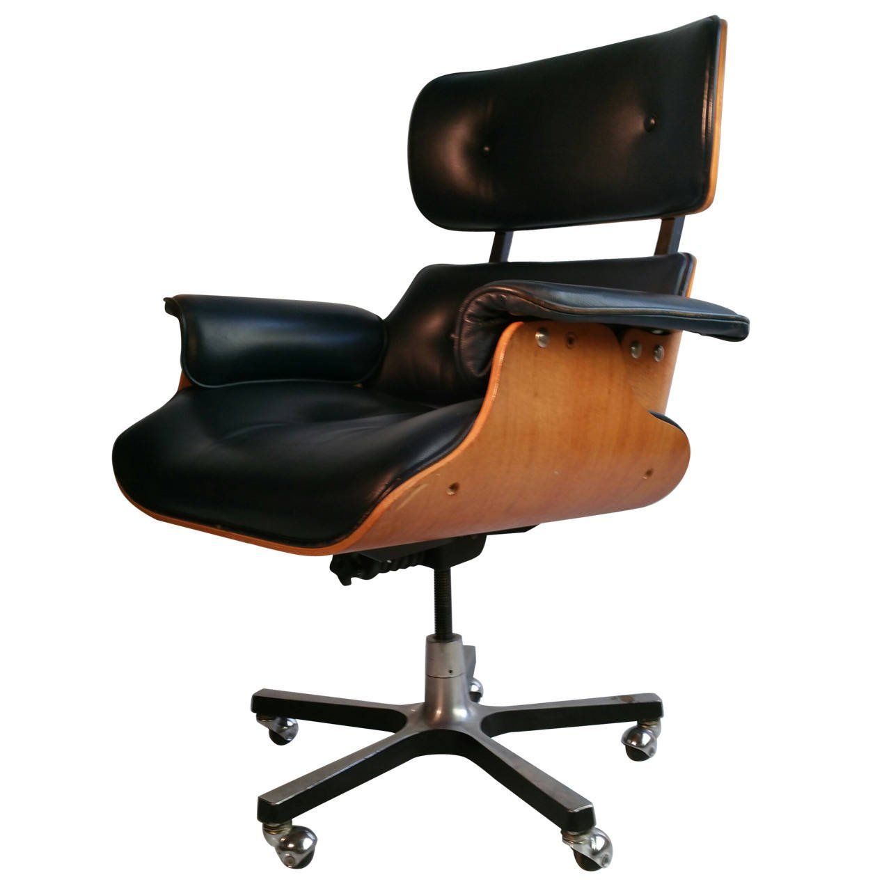 Modernist Eames Style Leather Desk Chair From A Unique Collection Of Antique And Modern Office