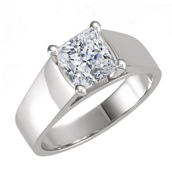 1 50 ct princess cut wide band cathedral design solitaire