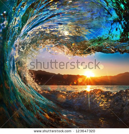 Rough Colored Ocean Wave Falling Down At Sunset Time By Willyam Bradberry Via Shutterstock Sunset Wallpaper Water Sunset Scenery