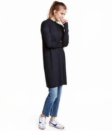 Dark Blue Short Dress In A Soft Fine Knit With Wool Content Long Sleeves And A Ribbed Mock Turtleneck Fashion Knit Dress Clothes