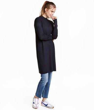 Vestido en punto fino | Azul oscuro | Mujer | H&M MX