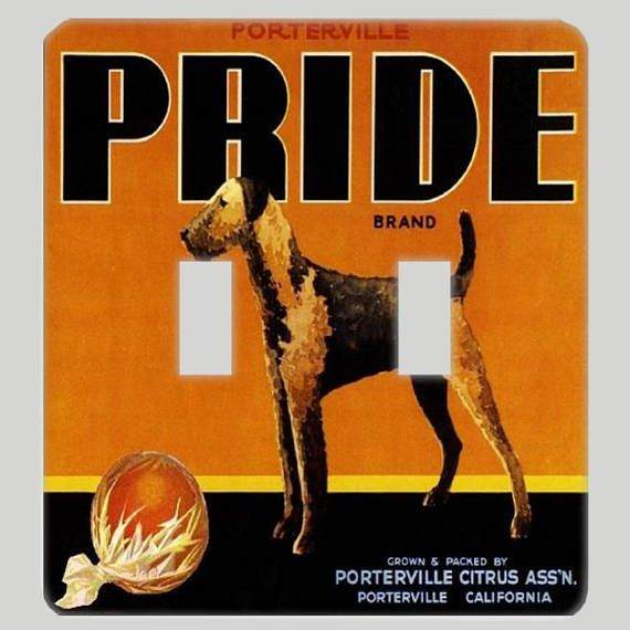 Airedale Pride Fruit Crate Dog Light Switch Cover Oversized
