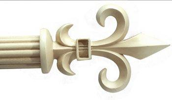 Fleur De Lis Custom 1 3 8 Wood Rod In Antique White Bestwindowtreatments Com Drapery Rods White Curtain Rod Curtain Rods