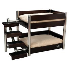 Wood And Stainless Steel Pet Bunk Bed With Stairs In Espresso