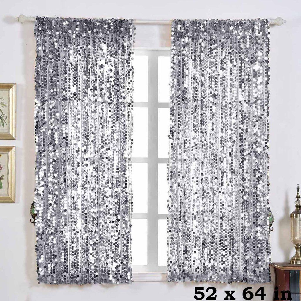 2 Pack 52 X64 Silver Big Payette Sequin Curtains With Rod