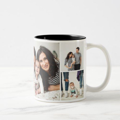 Personalized Family 7 Photo Collage Two Tone Coffee Mug Zazzle Com Photo Collage Personalized Mother S Day Gifts Mother S Day Mugs