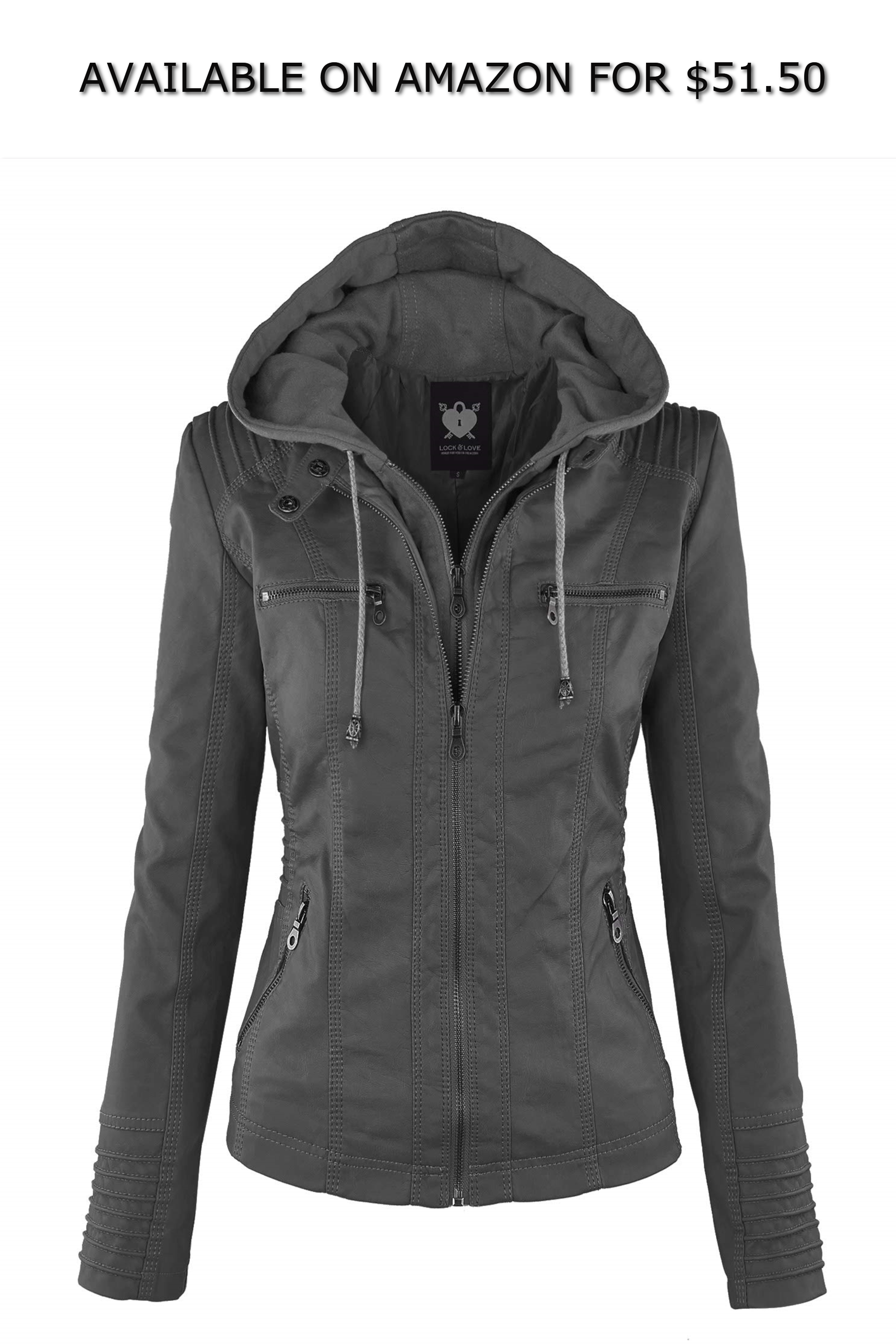 14963475aae4 Lock and Love LL WJC663 Womens Removable Hoodie Motorcyle Jacket XL Grey ◇  AVAILABLE ON AMAZON