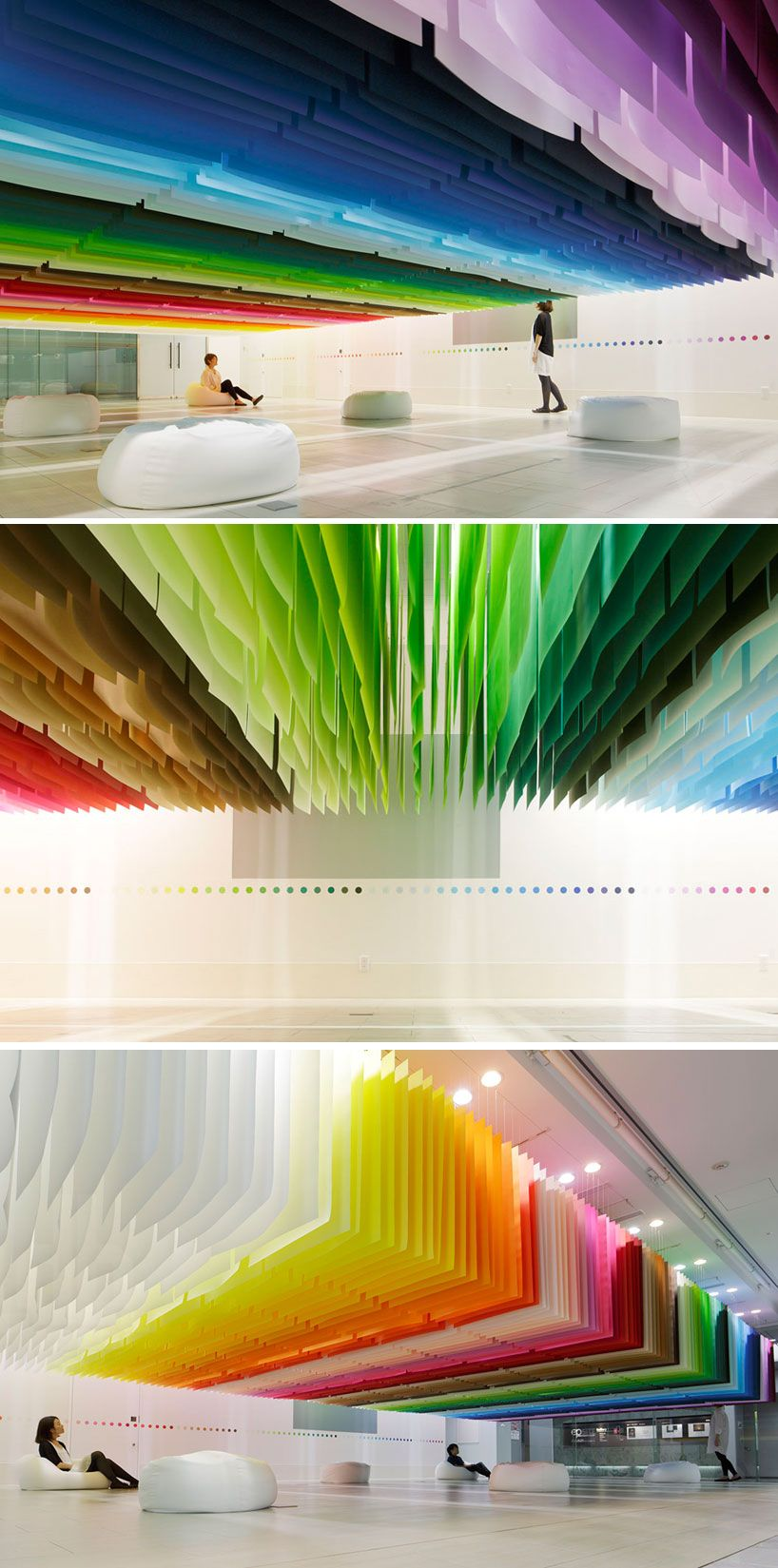 100 colors installation using sheets from Takeo Paper for Shinjuku Creators Festa 2013 by Emmanuelle Moureaux