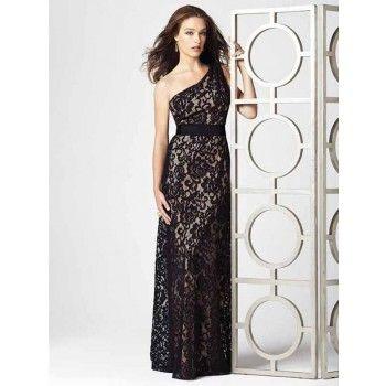elegantes one shoulder abendkleid schwarz spitze lang mit bildern  brautjungfern kleider