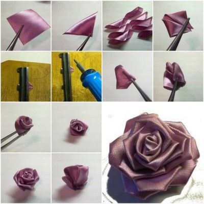 How To Make Purple Ribbon Rose Step By Step Diy Tutorial