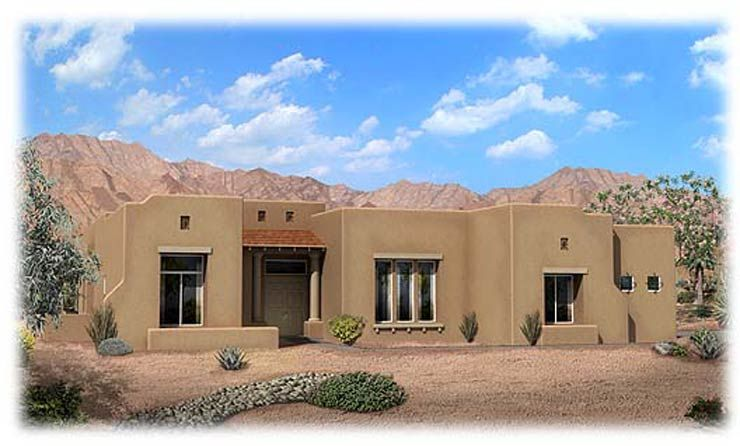 Pueblo style home exterior picasso model in desert rose for Adobe style homes for sale