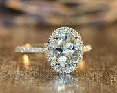Floral Aquamarine Engagement Ring in 14k White Gold Diamond Pebble Ring 7x7mm Round Cut Natural Aquamarine Ring (Bridal Set Available)