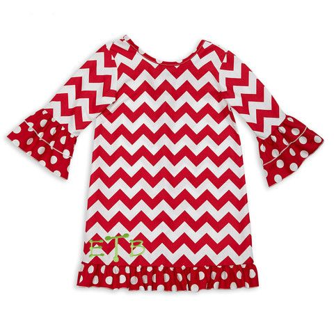 b8e316fe27e92 Lolly Wolly Doodle Girl's Red White Chevron Dot Ruffle Christmas Dress.  Available at lollywollydoodle.com