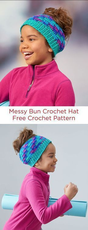 Messy Bun Crochet Hat Free Crochet Pattern in Red Heart Yarns -- This trendy style hat makes it easy to wear your hair in a bun, even while wearing a hat. It's a regular crochet style beanie, but with the added feature of a hole to accommodate your bun or pony tail. #kidsmessyhats Messy Bun Crochet Hat Free Crochet Pattern in Red Heart Yarns -- This trendy style hat makes it easy to wear your hair in a bun, even while wearing a hat. It's a regular crochet style beanie, but with the added fea #kidsmessyhats