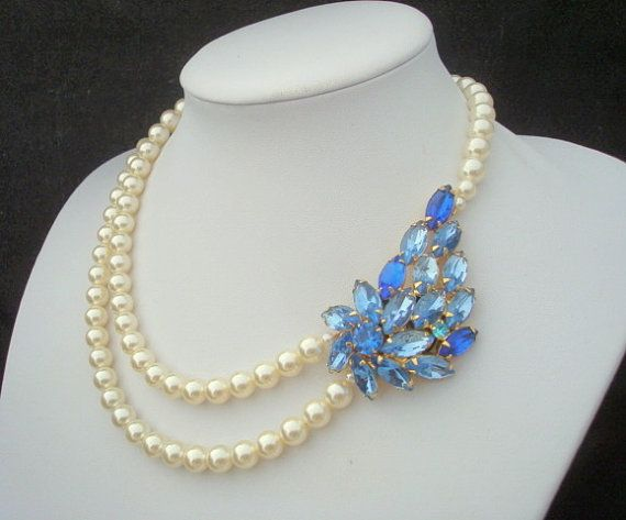 EUNICE Something Blue Vintage Brooch with Ivory Swarovski Pearls Necklace One of a Kind -$100.00