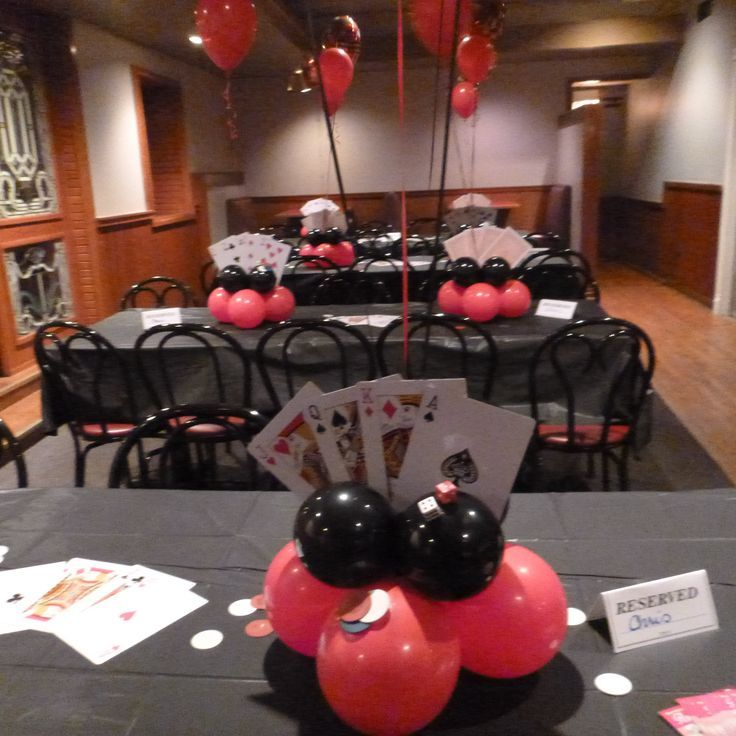 Casino Themed Table Bases And Balloon Centerpieces