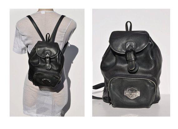 Super HARLEY DAVIDSON vintage leather BACKPACK tote rucksack back pack OC-19