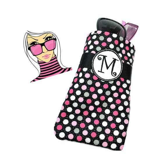 Check out Monogram Glasses Case Polka Dot Black White Pink Personalized Cell Phone Case Custom iPhone Case Eyeglass Holder Soft Padded Eyeglass Case on sewsationalstitches