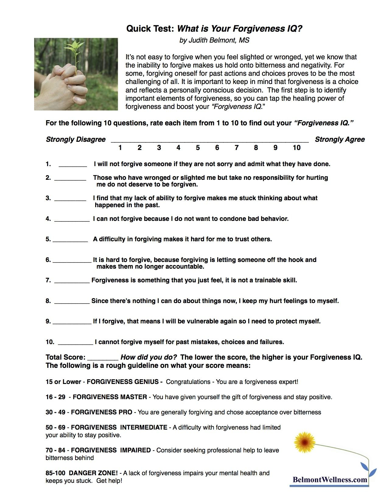 Mental Health Group Worksheets : Forgiveness self test take this quick quiz to find out