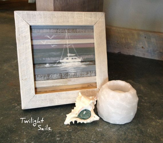Coastal Wood Art Silhouetted Sails 8 X 8 by RedHouseDesignStudio, $50.00