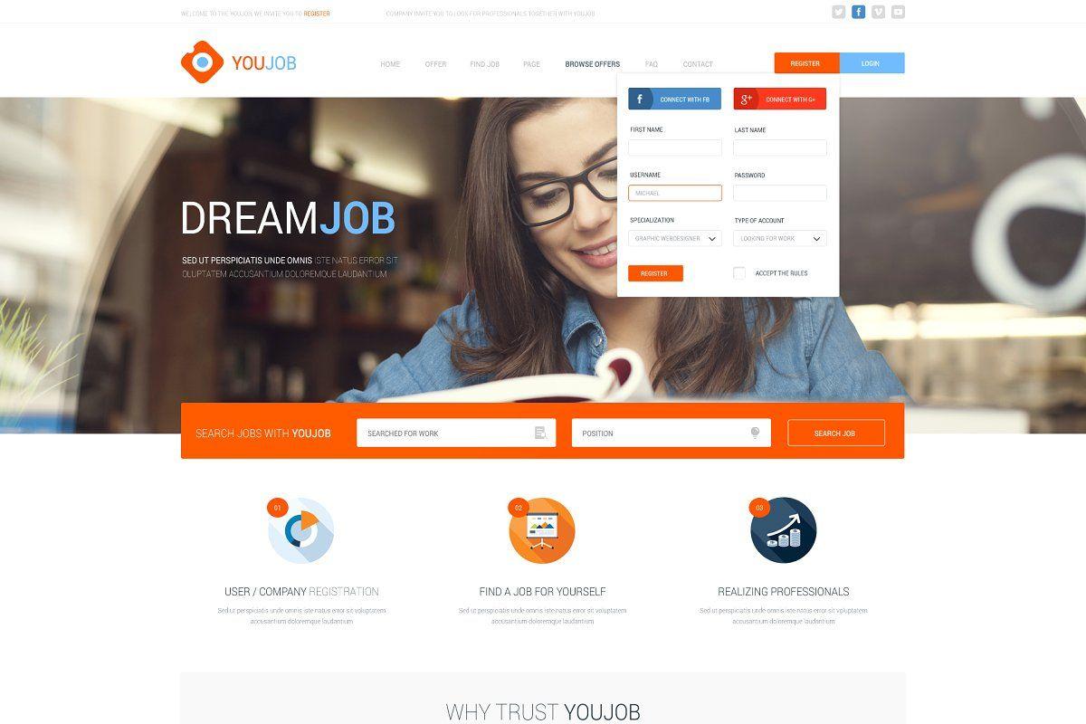 Youjob Job Portal Html Psd Job Portal Great Business Ideas Content Management System