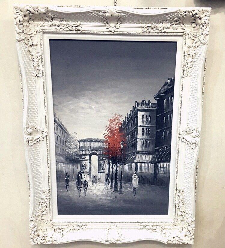 روائع لوحات فنيه لوحة فنية لمدينة باريس اسود وابيض داخل برواز فرنسي معتق باللون الابيض المودرن لمسة جمالية تلائم ذوقكم المتميز Art Painting Home Decor