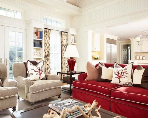 Red And White Living Room Hamptons Style Red Couch Living Room