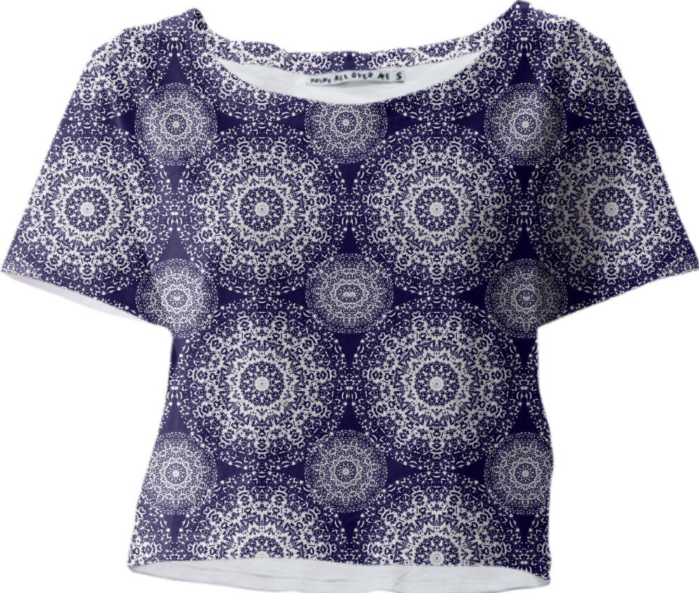 Navy blue And White Pretty Floral Lacy Patterned Summer Crop Top Tee from Print All Over Me