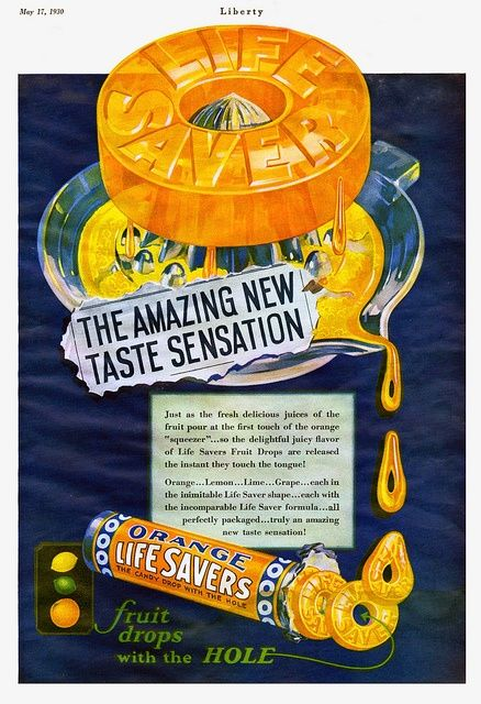 {Grape wasn't the only solo fruit flavour of the 1930s to star in its own pack of Life Savers during the 1930s, orange proved popular on that front, too.}