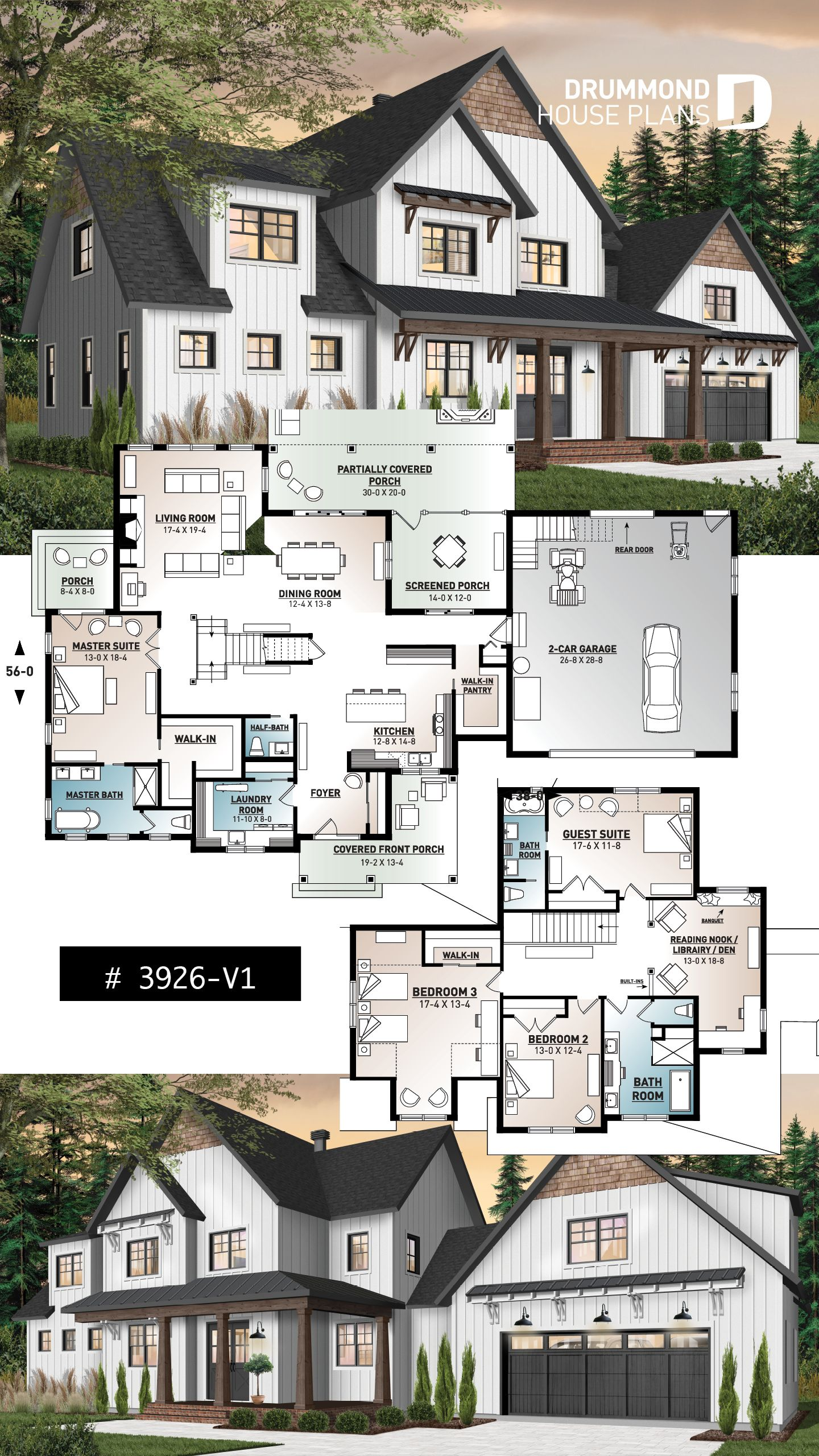 Modern farmhouse home plan