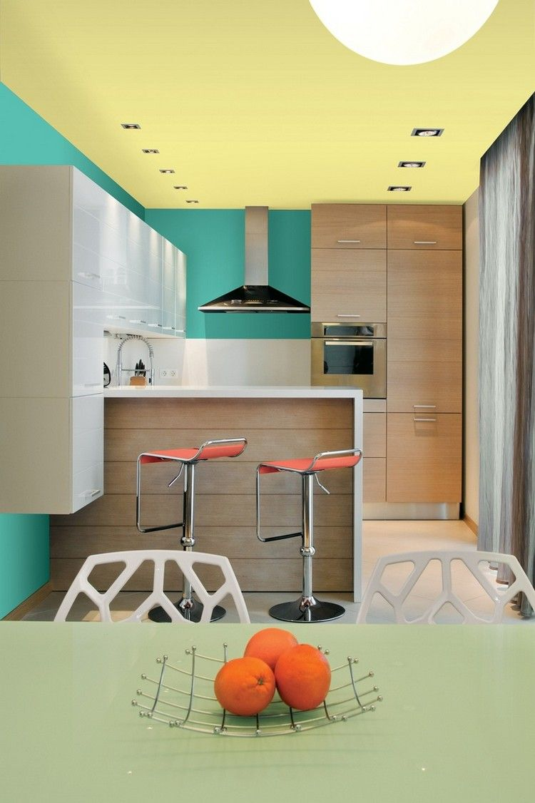 Welche Farbe Für Küche Gruene Wandfarbe Gelbe Decke Holz Hochglanz