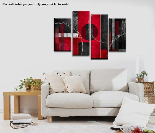 Wieco Art 4 Panels Red and Black with Circles Abstract Canvas Prints Wall Art for Home Decoration P4RAB002