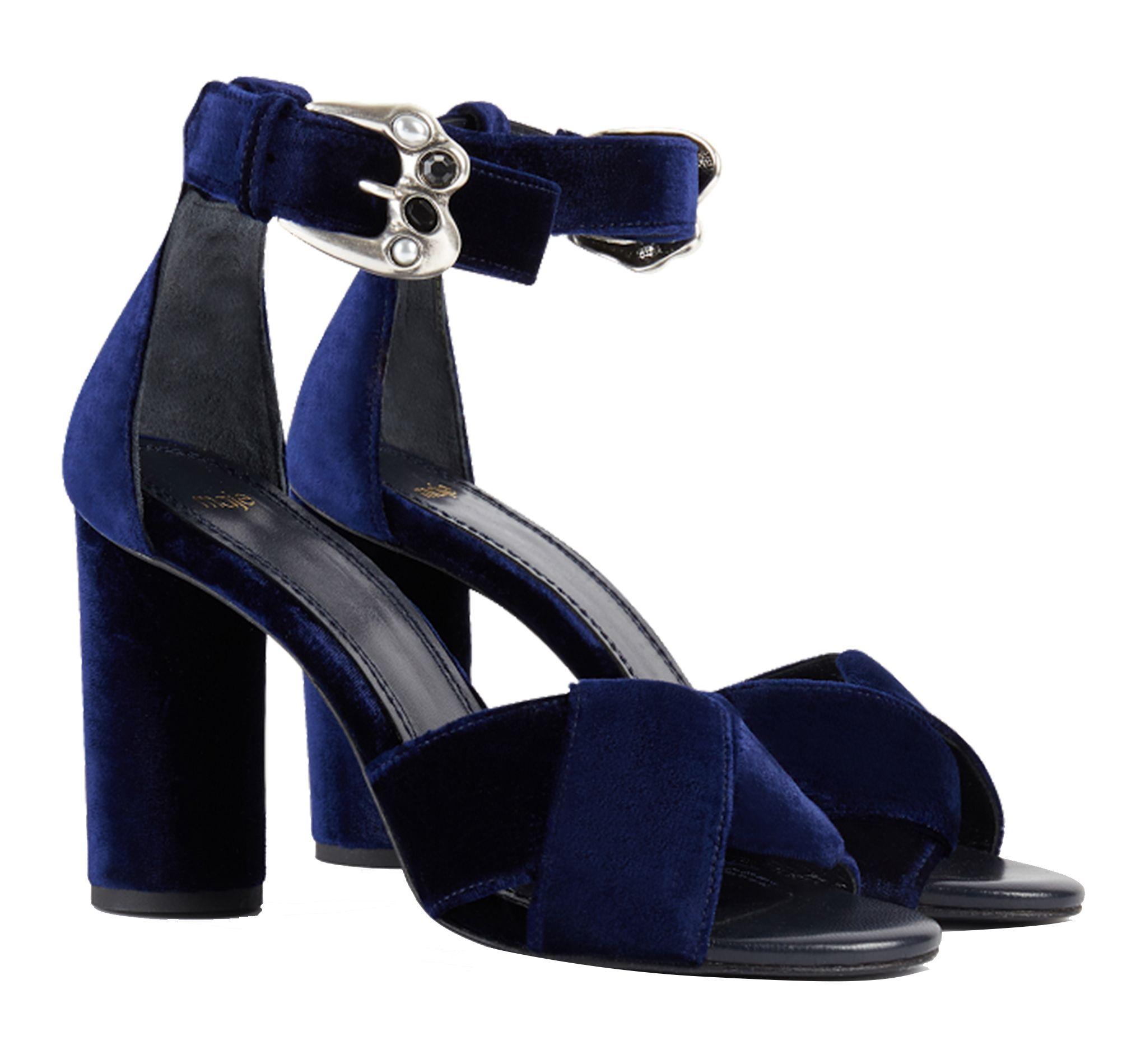 Maje Femme Velours Sandales Falbe Avec Eboutique En Boucles Bleu n0mN8ywvO